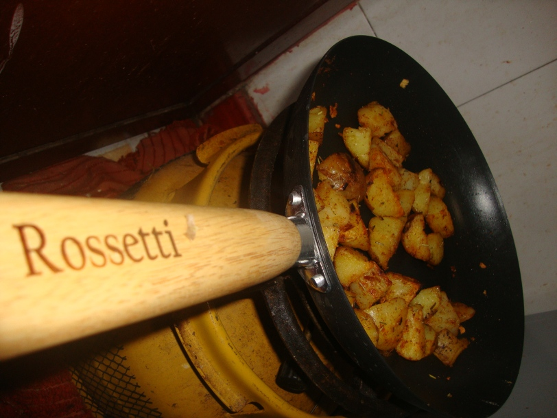 roasting potatoes on a pan