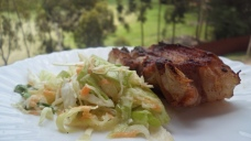 grilled pork with coleslaw