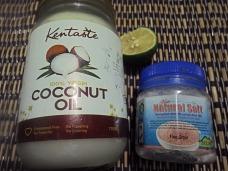 Extra virgin coconut oil, natural himalayan salt, fresh lemon